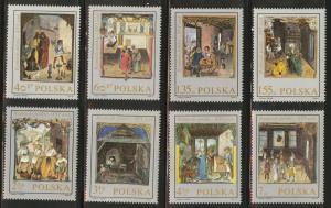 Poland Scott 1697-1704 MNH** 1969 Art set