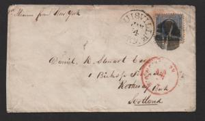 US Sc#115 Lousville KY to Scotland 1871 Trans-Atlantic cover