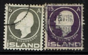 Iceland SC# 89 and 90, Used, Hinge Remnant - Lot 040217