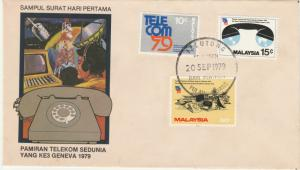Malaysia 1979 World Telecommunications Exhibition in Geneva FDC SG#206-208