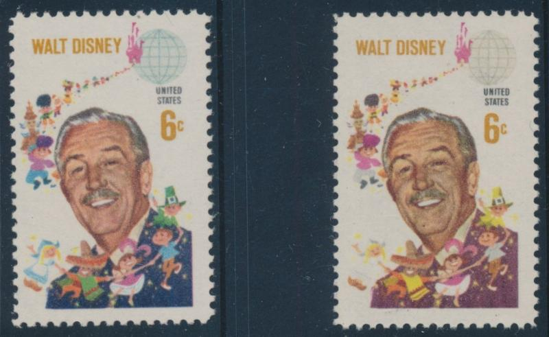 #1355f WALT DISNEY BLUE COLOR OMITTED MAJOR ERROR RARE XF NH CV $1,500 BU3923 JN