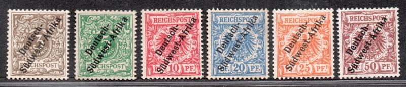 **German SW Africa, SC# 1-6 MH VF Complete Set, Attest Cert for 5&6, CV $490.00