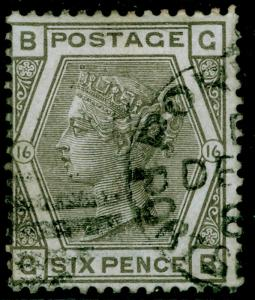 SG147, 6d grey plate 16, FINE USED. Cat £90. GB