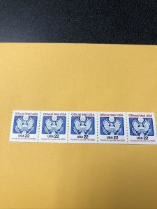US SC # O136 Official Mail  - DULL - Finish Gum - Coil Strip Of 5 / MNH