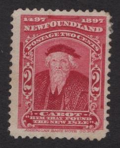 Newfoundland  #62  used   1897  Cabot 2c