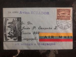 1932 Latacunga Ecuador First Flight cover FFC to Guayaquil 352 Flown B