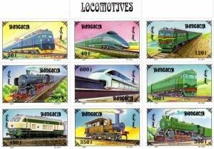 Mongolia 1997 AIRCRAFT TRAINS Sheet (9v) + 2 s/s Perforated Mint (NH)
