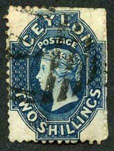 Ceylon SG72 2/- Steel-blue Wmk Crown CC Used