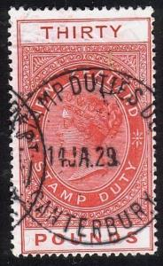 NEW ZEALAND 1880 LONG TYPE STAMP DUTY £30 used.............................10560
