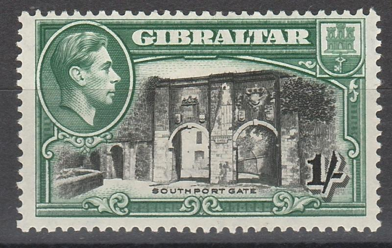 GIBRALTAR 1938 KGVI SOUTHPORT GATE 1/- PERF 13.5