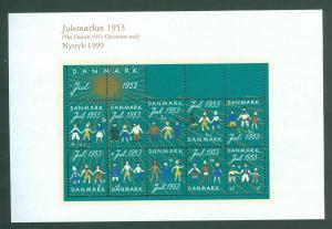 Denmark. Christmas Seal Souvenir Sheet 1953/99 Reprint. Mnh. Children,World.