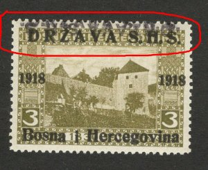 BOSNIA - SHS - MNH STAMP, 3 h - ERROR -TETE BECHE OVERPEINT DRŽAVA S.H.S.-1918