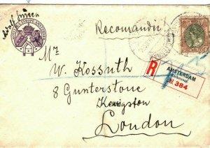NETHERLANDS Cover Amsterdam Registered Hotel GB London 1919{samwells-covers}SQ6