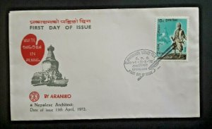 1972 Peking White Dragon By Araniko Nepal Architect 1st Day Issue Cover