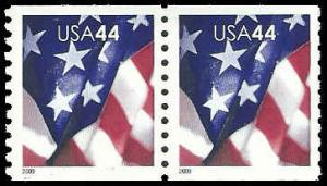 PCBstamps   US #4391 Coil Pair 88c(2x44c)Flags, 2009, MNH, (23)