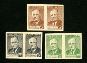 Argentina Stamps ROOSEVELT VF UNUSED ESSAY-PROOF 3 PAIRS