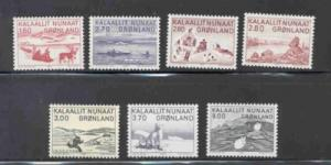 Greenland Sc 112-18 1980-7 Native Life stamp set mint NH