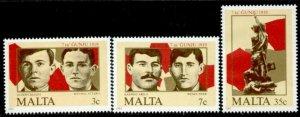 Malta 662-4 MNH June 7 Uprising, Memorial Monument