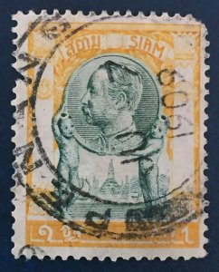 1909 RARE clear PENANG Malaya cancelled on Thailand Siam1 Att has faults M2475