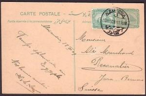 EGYPT 1909 uprated postcard used Alexandria to Switzerland.............34731