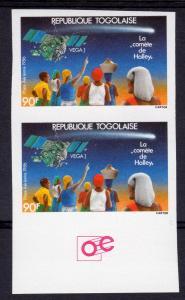 Togo 1986 Sc#1362 HALLEY'S COMET VEGA 1-PROBE PAIR IMPERFORATED MNH