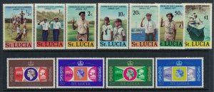 St. Lucia #414-7, 419025*  CV $3.55 Scouts & QEII Silver Jubilee issues