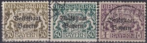 Bavaria #O29-30, O32  F-VF  Used CV $30.50 (Z3955)