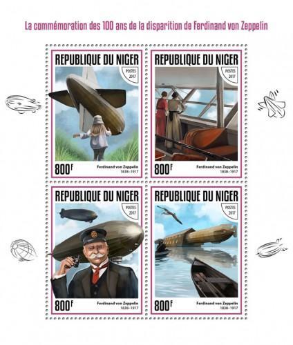 NIGER - 2017 - Ferdinand von Zeppelin, 100th Death Anniv - Perf 4v Sheet - MNH