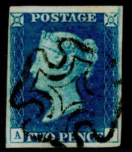 GB 1840 SG5, 2d blue, FINE USED. Cat £950. BLACK MX. 4 MARGINS.