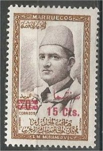 MOROCCO, NORTHERN ZONE, 1957, MNH 15c on 70c, Surcharged Scott 21