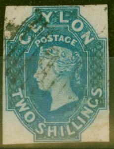 Ceylon 1859 2s Dull Blue SG12 Very Fine Used and Fresh 4 Clear Margins Scarce