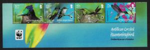 BVI WWF Hummingbird Birds Flowers Bottom strip of 4v WWF Logo SG#1278-1281