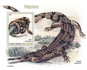 Sao Tome & Principe 2021 MNH Reptiles Stamps Snakes Boa Crocodiles 1v S/S