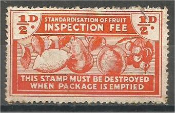 NEW ZEALAND, 1940, 1/2p, Fruit Inspection Fee.