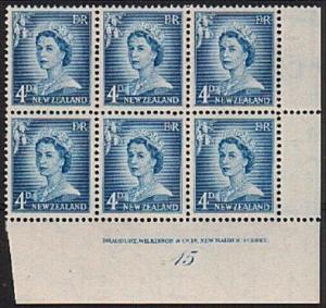 NEW ZEALAND 1955 QE 4d large figures plate block 15 - fine mint............79251