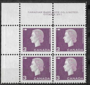 Canada # 403  QE II 1962 - 3c Plt.Blk  Plate 1 UL  (1)  Mint NH