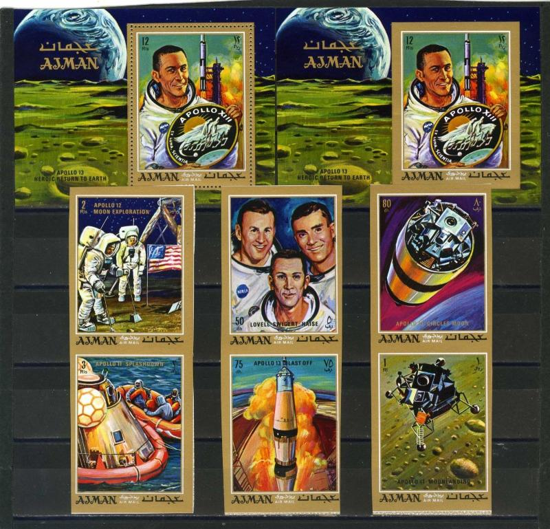 AJMAN 1970 SPACE RESEARCH/APOLLO 13 SET OF 6 STAMPS IMPERF.& 2 S/S MNH