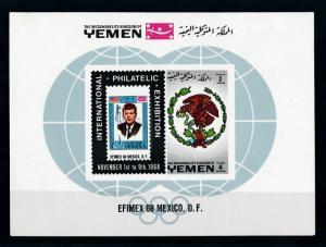 [70292] Yemen Kingdom 1968 Philatelic Exhibition Kennedy Souvenir Sheet MNH