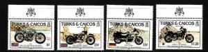 Turks & Caicos-Sc#690-3-unused NH set-Motorcycles-Sports-1985-