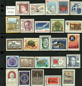 Austria 1983 Part year set sg1953/1979 (missing sg1961, and 1980/86) cv£4 Stamps