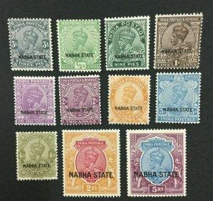 MOMEN: INDIA NABHA SG #60-72 1927-36 MINT OG H/NH LOT #193898-2399