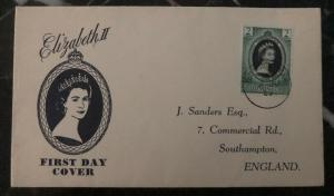 1953 Dominica QE 2 Coronation First Day Cover Queen Elizabeth FDC To England