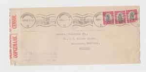 SOUTH AFRICA -USA 1940 CENSOR COVER 3x1d RATE (SEE BELOW