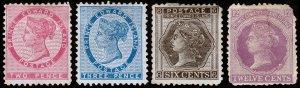 Prince Edward Island Scott 5-6, 15-16 (1862, 1872) Mint H F, CV $39.50 C