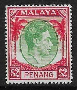 MALAYA PENANG SG21 1949 $2 GREEN & SCARLET MTD MINT
