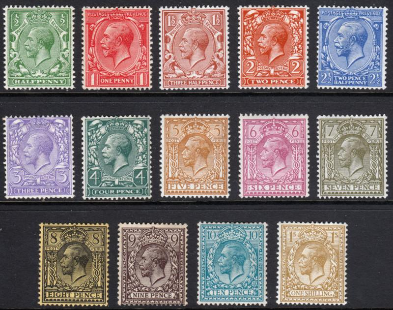 GB GV 1912 Part Set SG351-SG396 Mint Lightly Hinged Mostly MLH
