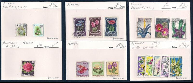 WORLDWIDE Topical Flowers (100) Different Sets Mint & Used