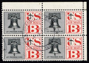 US STAMP AIR MAIL #C62 – 1961 13c Liberty Bell blk/red USED BLK OF 4