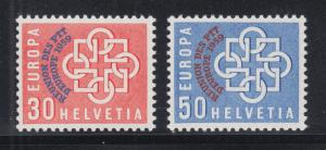 Switzerland Sc 376-377 MNH. 1959 European Conference ovpts on EUROPA cplt, VF