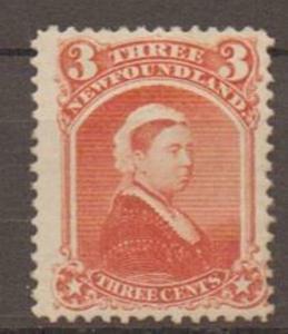NEWFOUNDLAND SG36 1870 3c VERMILION MTD MINT